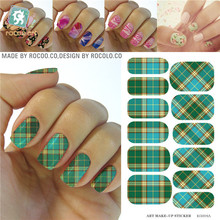 Fashion Green Yellow Tartan Water Transfer Design Nails Stickers Manicure Styling Tools Water Film Paper Decals