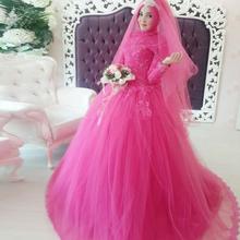 Ball Gown Wedding Dresses Islamic Style Muslim Long Sleeve Wedding Dresses 2016 Couture Abaya Dubai Formal Women Dresses H-181(China (Mainland))