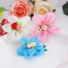 Cheap summer style Chiffon Ribbon Flower Hairpins Kids Accessories gilrs hair accessories Children Accessories Baby Hair clip(China (Mainland))