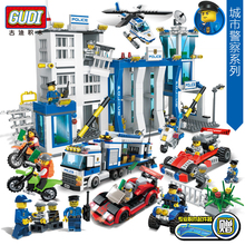 GUDI City Police Series Building Blocks Compitable with Legoe Car Helicopter Minifigures Block Assembled Toys Cops Children Toys(China (Mainland))