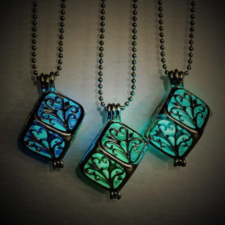 European sterling silver jewelry Cube tree glow in the dark pierced Hollow Locket Magic light pendant choker necklace(China (Mainland))