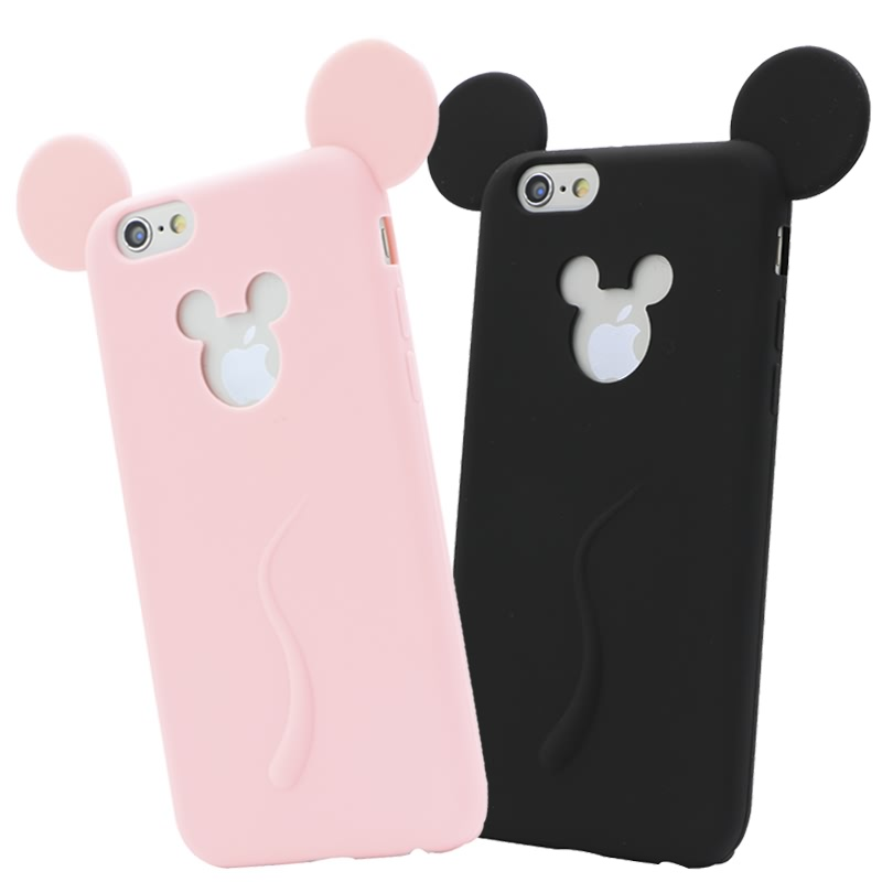 Cute Candy Colors Colorful 3D Soft Mickey Mouse Ear Silicone Cartoon Phone Case Cover for iphone 6 6S 4.7Inch Free Shipping(China (Mainland))