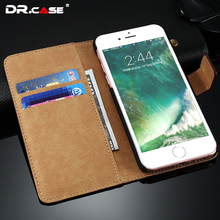 DR.CASE For iPhone 7 7 Plus Lychee Style Leather Case Cover Protective Wallet Case For Apple iPhone7 Plus Card Slot Flip Fundas(China (Mainland))