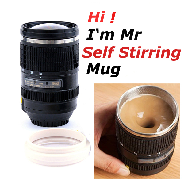 Stainless Steel Self Stirring Mug Camera Glass Lens Magic Design Travel Espresso Drinkware and Coffee Cup(China (Mainland))