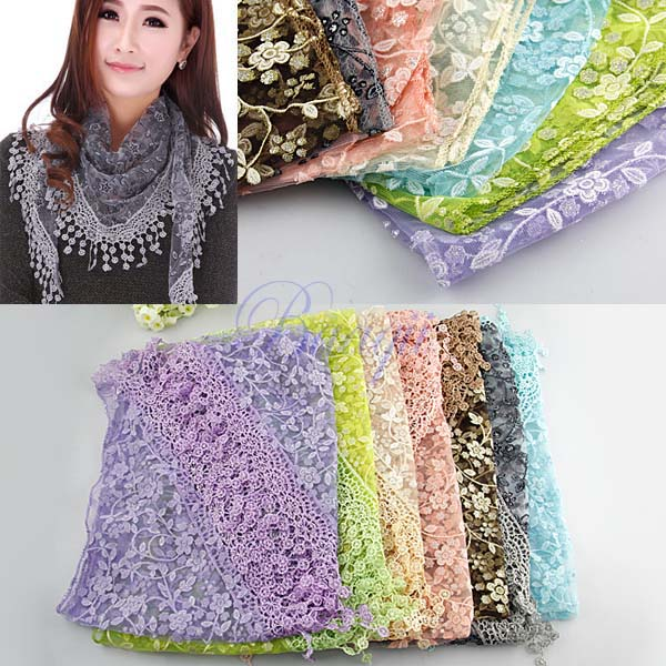 Lace Sheer Metallic Burnt-out Floral Print Triangle Mantilla Scarf Shawl Tassel(China (Mainland))