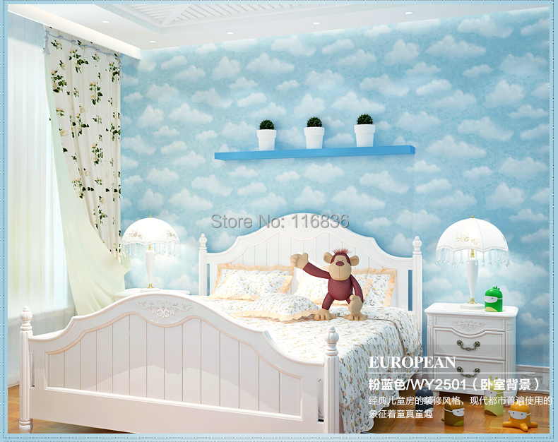child non-woven wallpaper blue sky boys bedroom & pink girls princess room 53*1000cm - Better Life Wall Stickers store