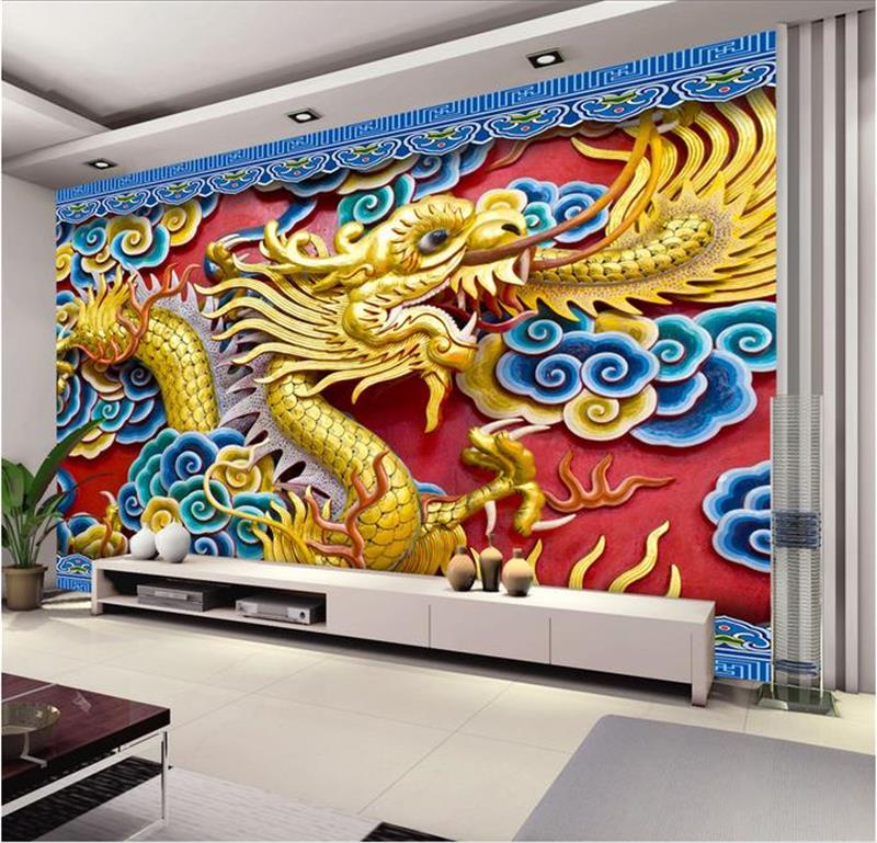High-end Custom 3D HD Photo Wallpaper Room Non-woven Mural 3D Golden China Dragon Mural TV Background Wall Wallpaper For Wall 3D(China (Mainland))