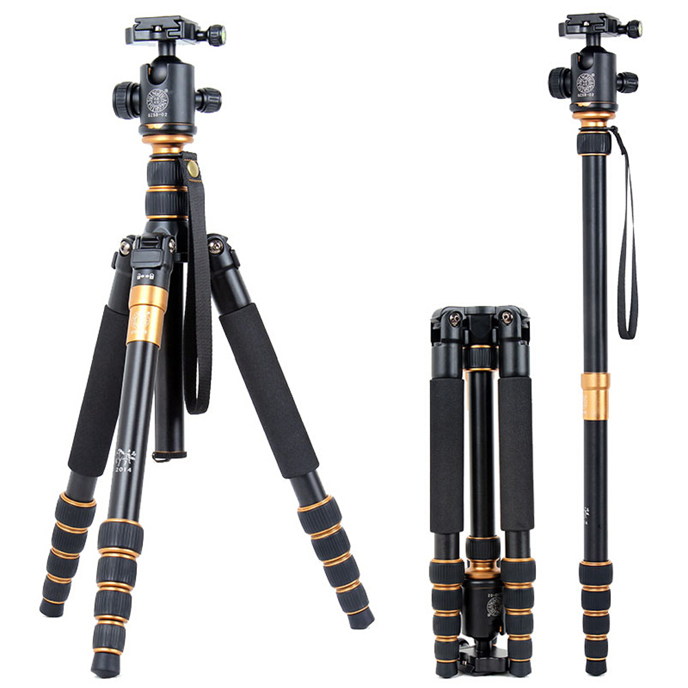 Фотография Cost-effective QZSD Q668 Professional Portable Stable Aluminum Tripod For Camera Can Changed Monopod With Ball Head+Tripod Bag