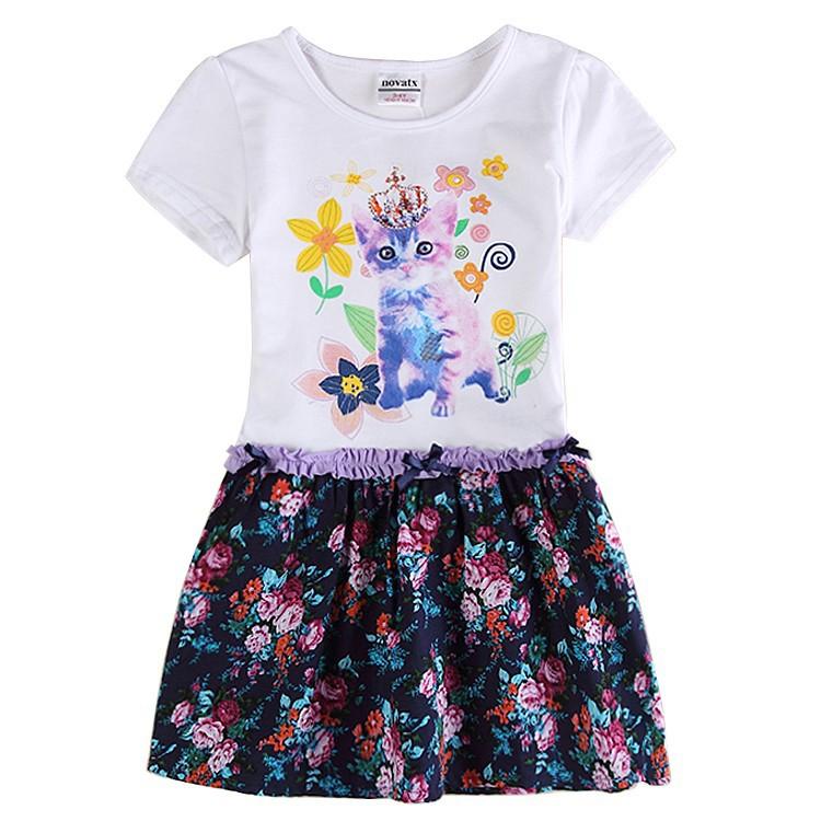 retail baby clothes girl dress 2015 summer syle kids clothes nova brand cat flora dress for children cotton girls dresses(China (Mainland))