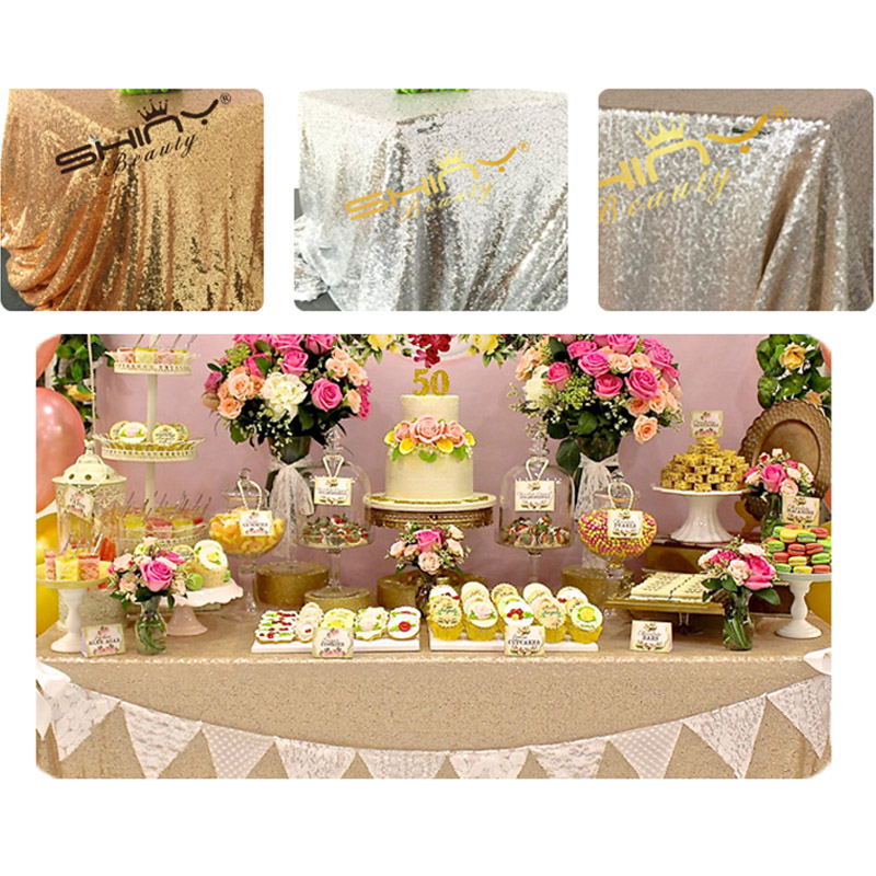 Free Shipping 125x180cm Champagne/Gold/Silver Embroidery Mesh Sequin Tablecloth Sequin Table Overlay for Wedding/Party Decora(China (Mainland))