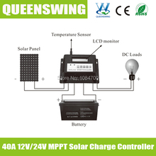 40A 12V 24V auto intelligent Solar Charge Controller with LCD with MPPT function good for solar