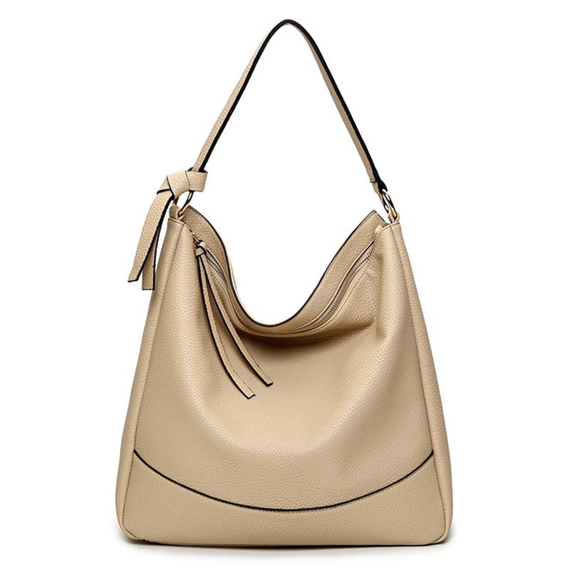 Fashion Solid Big Handbag Zipper Female Luxury Totes Shoulder Big Handbags Girls Bags Women Crescent Package Single Shoulder Bag(China (Mainland))