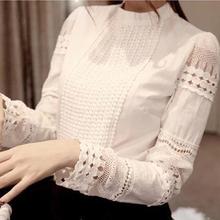 High Quality Spring Autumn Women Blouse Pattern O Neck Long-sleeve Slim Hollow Elegant Lace Shirts White For Female(China (Mainland))