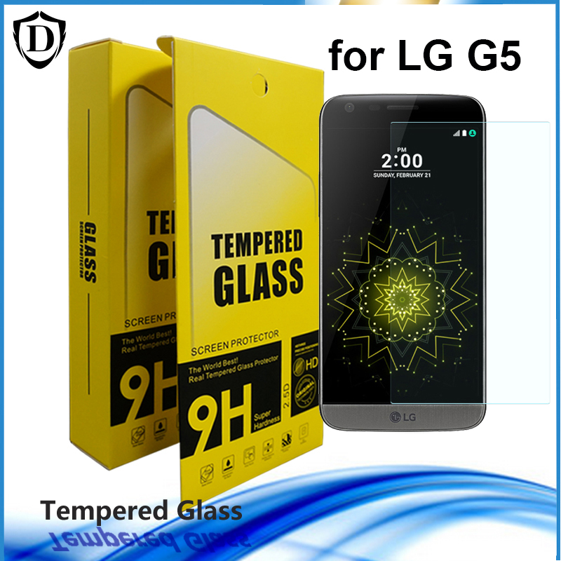 10Pcs/lot Screen Protector 2.5D Round Edge 9H Hardness 0.26MM Thickness Tempered Glass For LG G5 with retail box(China (Mainland))