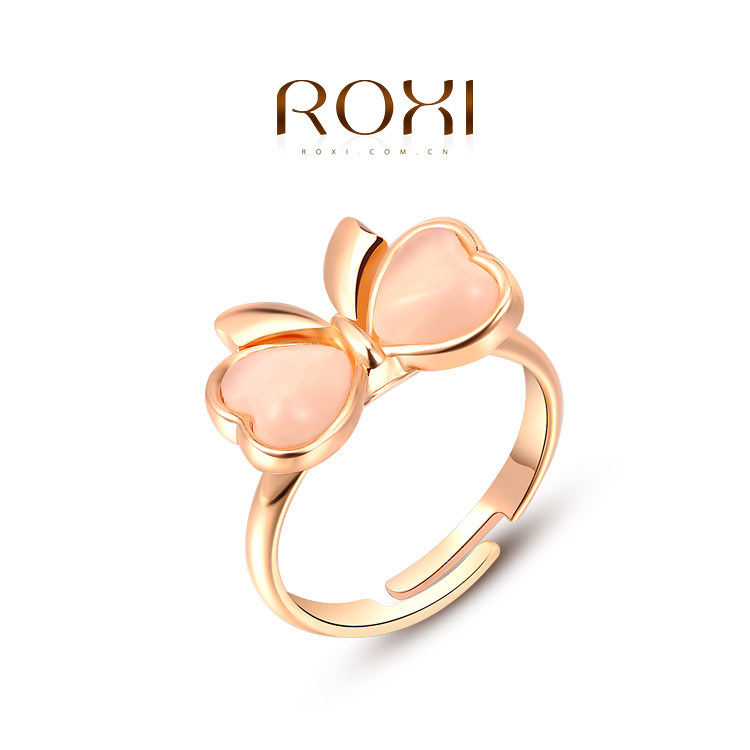 Fashion Opal Stone Cute Bow Knot Ring for Girls Gold Plated ROXI Jewelry for Women(China (Mainland))