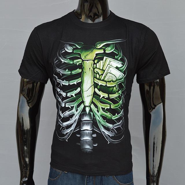 2015 moda 3d t shirt S,XXL del tamaño grande camisetas para hombre moda punk