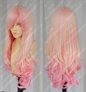 Harajuku Light Blonde/ Pink Mix Long Curly Cosplay Wig