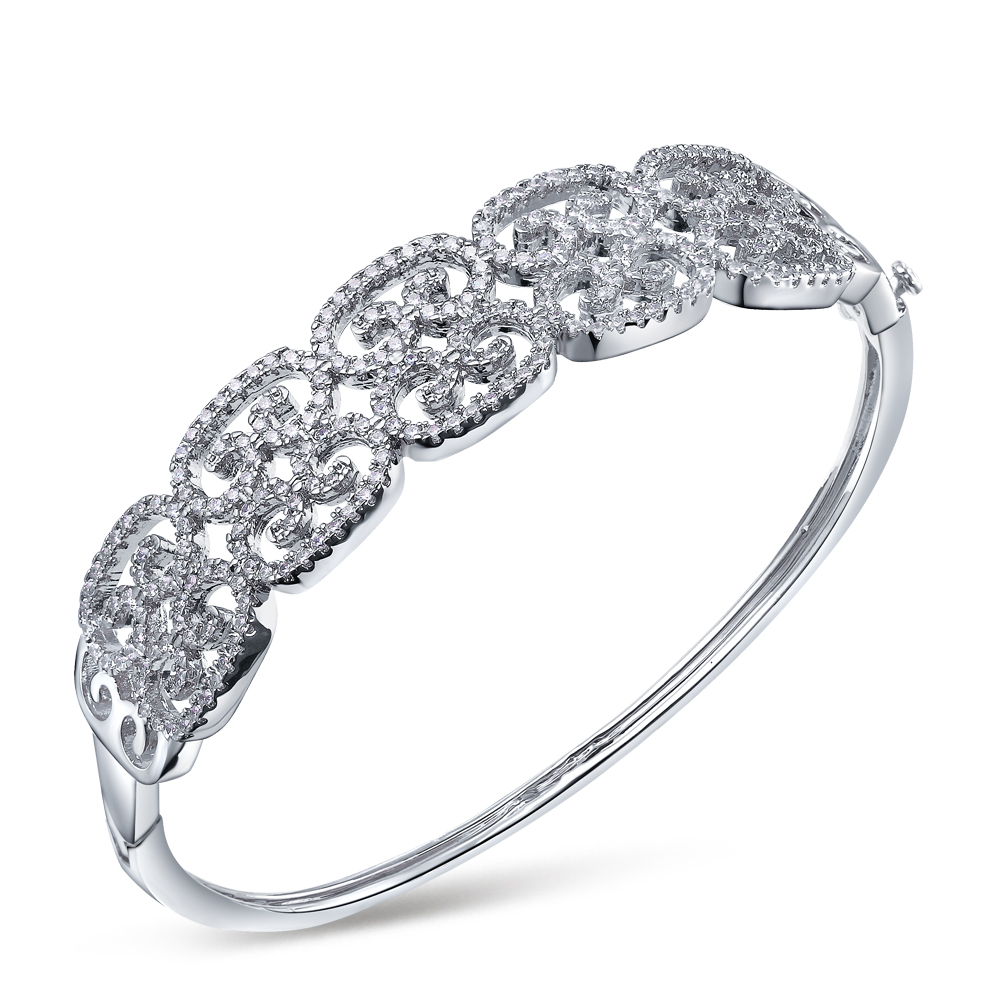 New Female Jewelry Round Cut Cubic Zircon Bracelet Romantic Platinum Plated Bride Bangle Bracelet(China (Mainland))