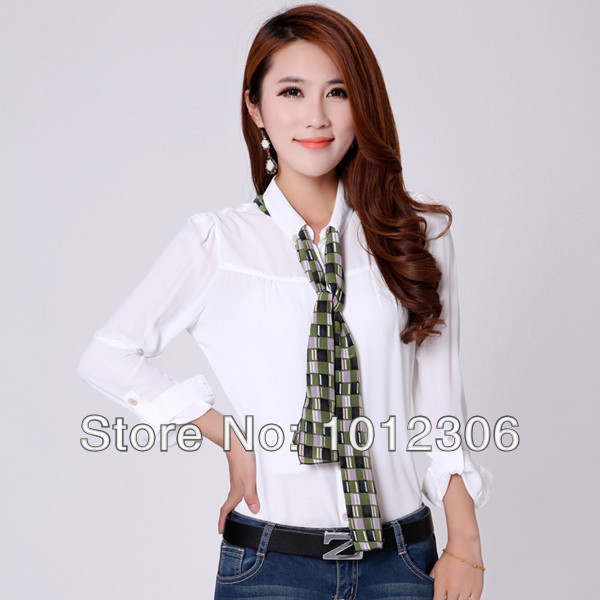 Value Specials 2015 New Casual Women Pure Color Plus Size Lapel Puff Shirts Tops Long Sleeve Chiffon Blouses With Scarf(China (Mainland))