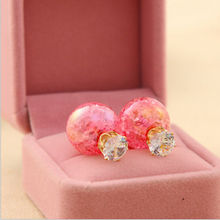 Women Lady Large Pearl Zircon Double Sided Shining Earrings Jewelry Gift(China (Mainland))