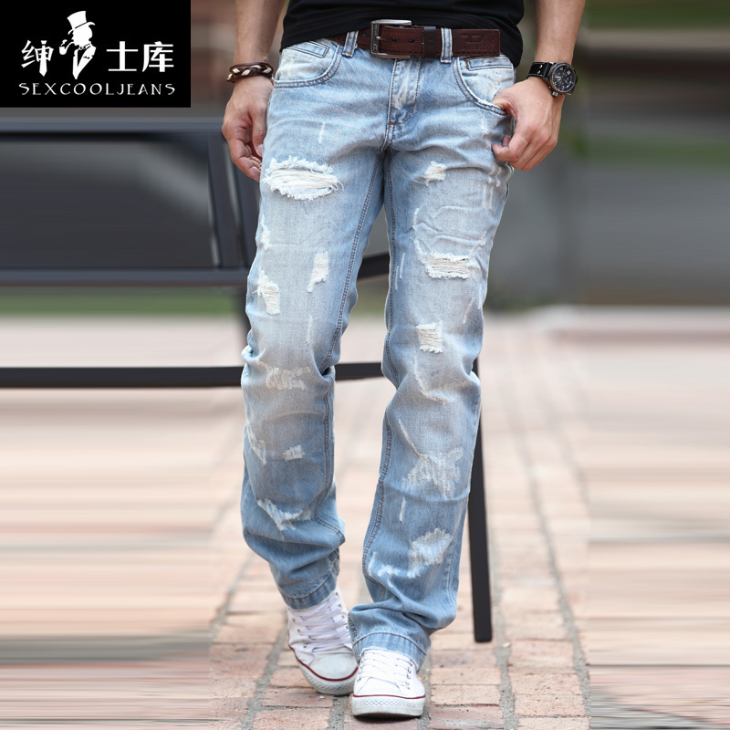 Sexcool2014 spring hot-selling handsome male hole jeans maleОдежда и ак�е��уары<br><br><br>Aliexpress