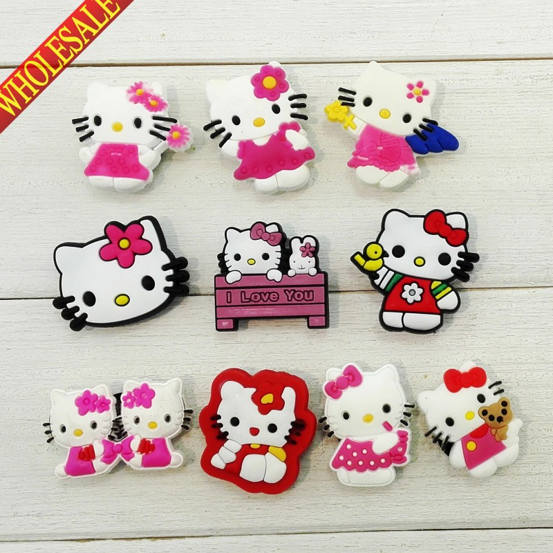 Wholsale Novelty 100PCS Hello Kitty Cartoon PVC Shoe Charms,Shoe Accessories,Christmas Gifts,Fit for Jibz Wristbands with holes(China (Mainland))