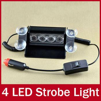 Blue & Red Super Bright 4 LED Truck Car Emergency Flashing Strobe Lamp Warning Signal Dash Windshield Police flashlight Light