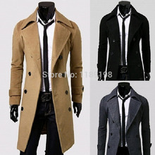 2014 New fashion long pattern thickening cashere coat Mens OUTWEAR woolen slim overcoat men winter coats Long Wool Blend Coat(China (Mainland))