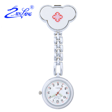 ZUNLONG Brand New Luminous Pointer Nurse Watches Red Cross Portable Fob Watch Brooch Tunic Batteries Medical Quartz Pocket Watch(China (Mainland))
