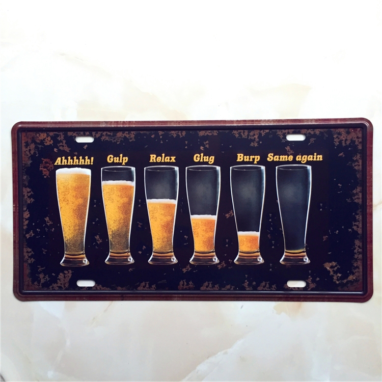 BEER GLASS CAR PLATE Vintage Tin Sign Bar pub home Wall Decor Retro Metal Art Poster(China (Mainland))