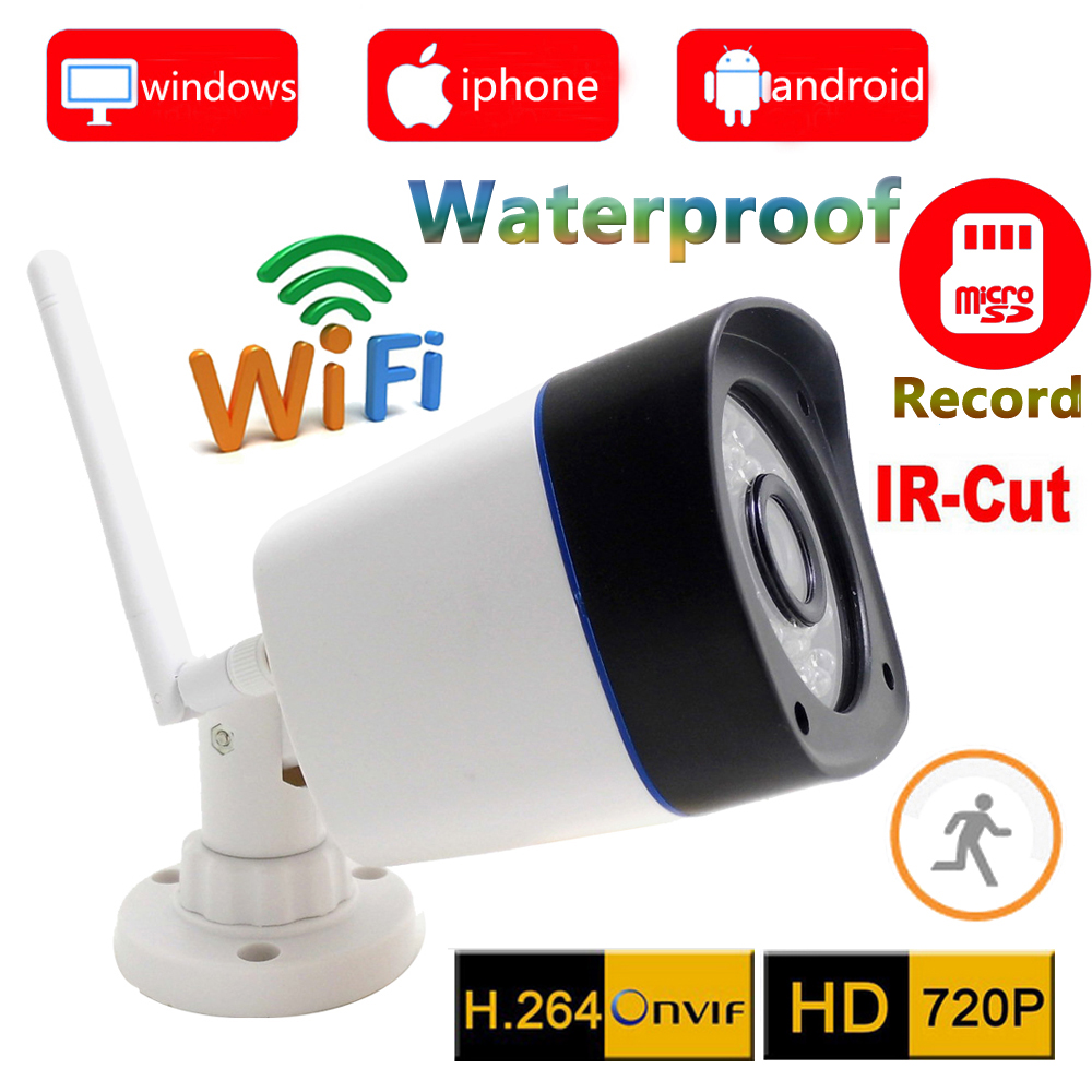 720p ip camera wifi wireless outdoor waterproof weatherproof cctv security system support micro sd Card record ipcam home cam(China (Mainland))