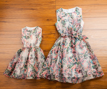 Clothes for mother and daughter summer 2015 family fashion summer sleeveless repair gentlewomen floral print skirt puff skirt