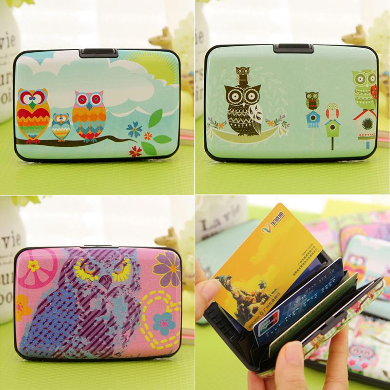 New 3D Owl Women Lady Girls Kawaii Owl Printed Plastic Card Bag Box Stylish Bank Card Protecter Holder Storage Different Pattern(China (Mainland))