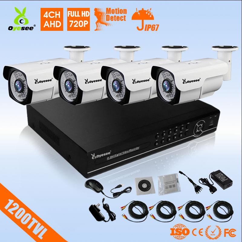 1200TVL cctv camera kit 720p AHD high definition waterproof IP67 4pcs 720p AHD kit+1pc 4ch DVR DVR kit cctv camera kit(China (Mainland))