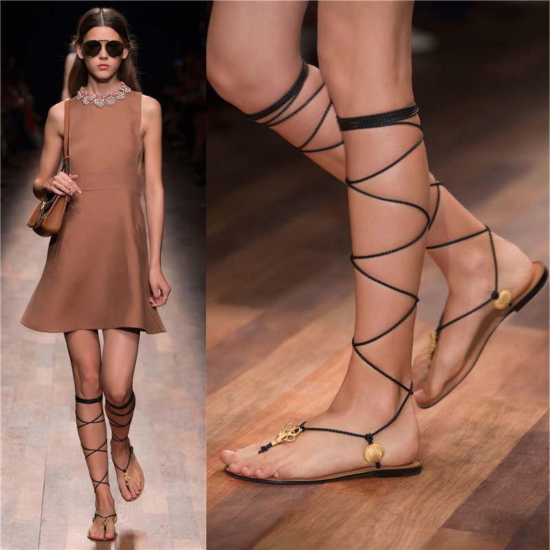 Sexy Lace Up Knee High Gladiator Sandals Women Flats Shoes Woman 2015 Shell Beach Shoes Rome Summer Style Flip Flops Sandalias(China (Mainland))