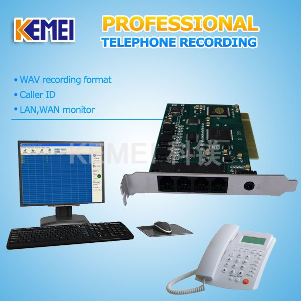 callrecorder/record call for 4 telephone lines, 4 port telephone log/voice log, PC recording system(China (Mainland))