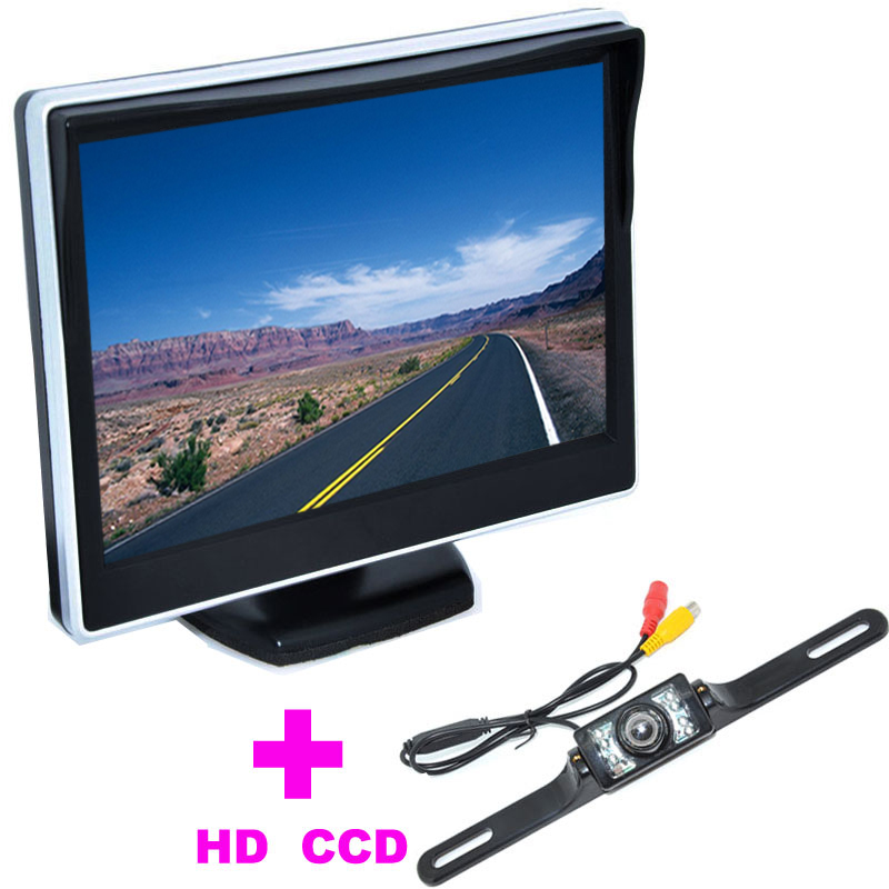 """5"""" TFT LCD Car Monitor 170 Angle monitor +7LED Universal Car Rearview Camera backup camera 2 in 1 Auto Parking Assistance System(China (Mainland))"""