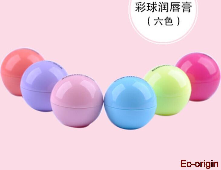 6 Colors New Brand Makeup Round Ball Moisturizing lip balm Natural Plant Sphere lip Pomade Lipstick Fruit Embellish lip Care(China (Mainland))