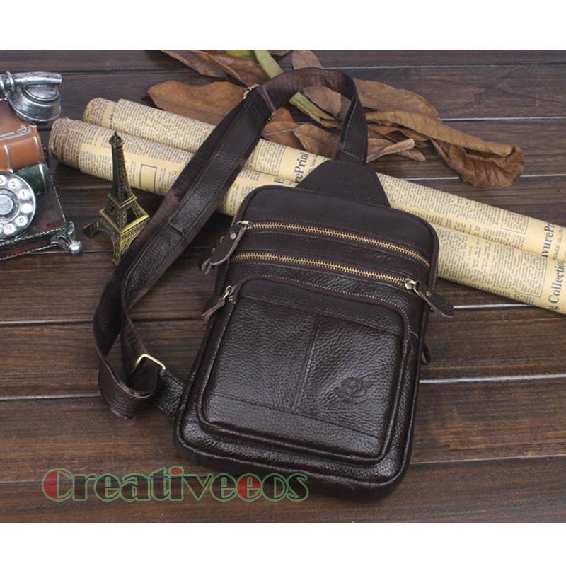 New Fashion Men Genuine Leather Cow hide Vintage Ipad Travel Crosss Body Messenger Shoulder Back pack Sling Chest Bag(China (Mainland))