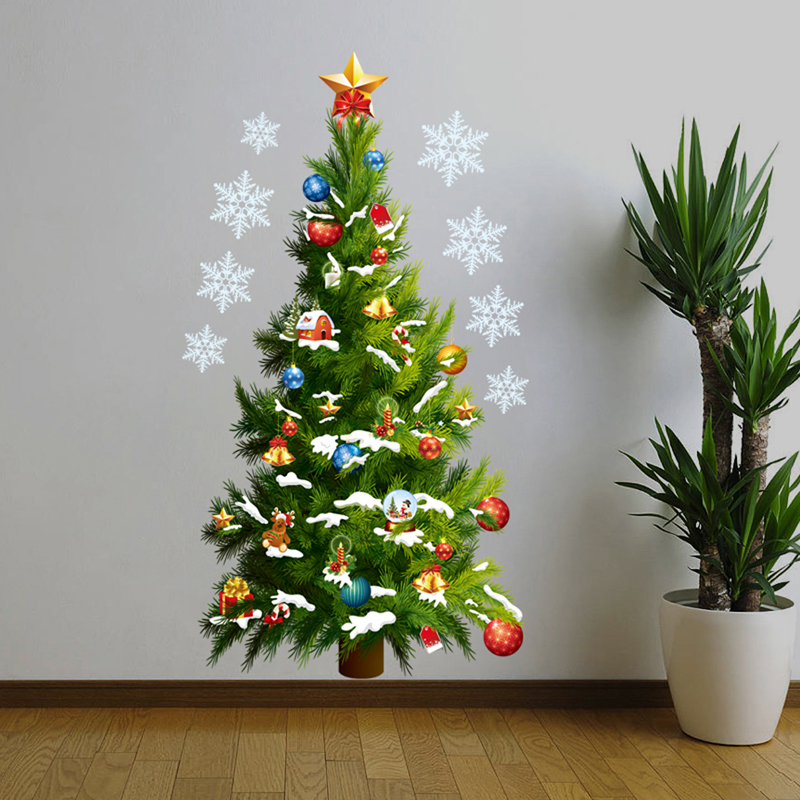 Christmas Tree Wall Sticker Vinyl Removable Wall Stickers Home Wall Decor Poster vinilos paredes 3d Wall Stickers(China (Mainland))