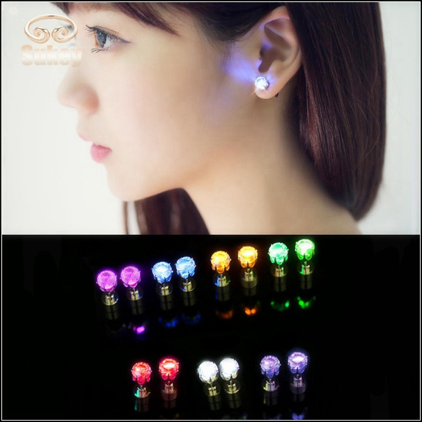 Fashion Jewelry LED Earrings Light Stud Earrings For Women And Men Choice for the Nightclubs stud earrings 7 Color ic5487522(China (Mainland))