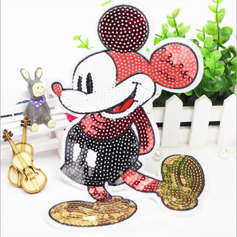 5pcs Cartoon Mickey Sequined Patches Embroidered Patch For Clothing Garment jersey Jeans Baby Patchwork Appliques Badge parches(China (Mainland))