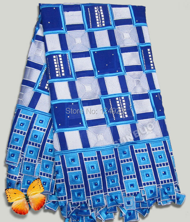 Promotion Big Swiss voile lace African lace fabric with lots of stones silver checks 5 yards royal blue turquoise white(China (Mainland))