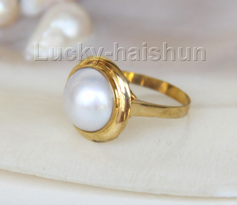 Здесь можно купить  AAA natural 15mm real white South Sea Mabe Pearls Rings 925 silver 8# j9598  Ювелирные изделия и часы