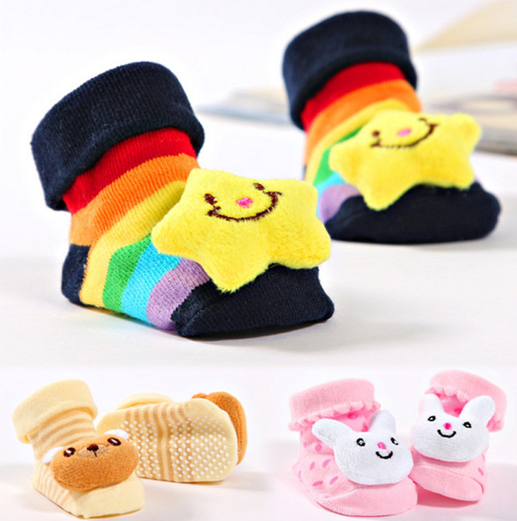 2015 Cartoon anti slip rubber kids socks newborn baby socks for girls boys infant baby cotton