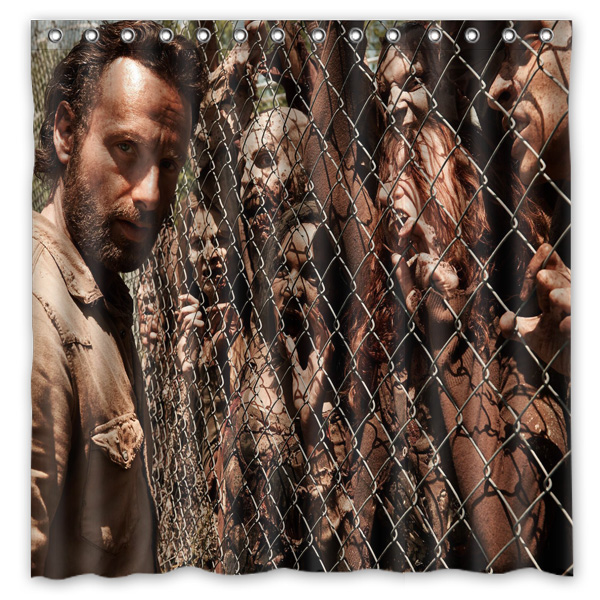 Novelty Item!Hot TV Play_The Walking Dead Background Printed Waterproof Polyester Shower&Bath Curtain( 180X180CM)(China (Mainland))