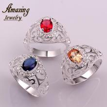 Free shipping brand Fashion Jewelry silver Plated vintage big crystal CZ diamond ruby lord of the