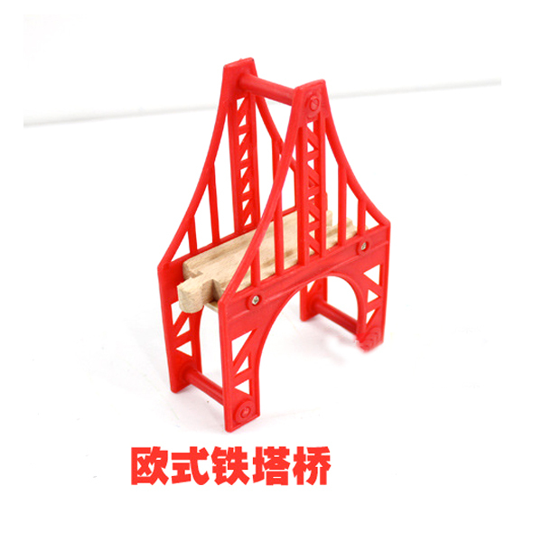 D535 Free shipping Thomas wooden rail accessories Red continental tower bridge(China (Mainland))
