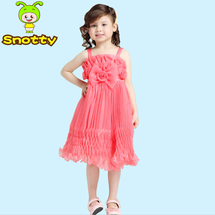 New model girl dress spaghetti strap girl party wear for 10 year old dresses for weddings