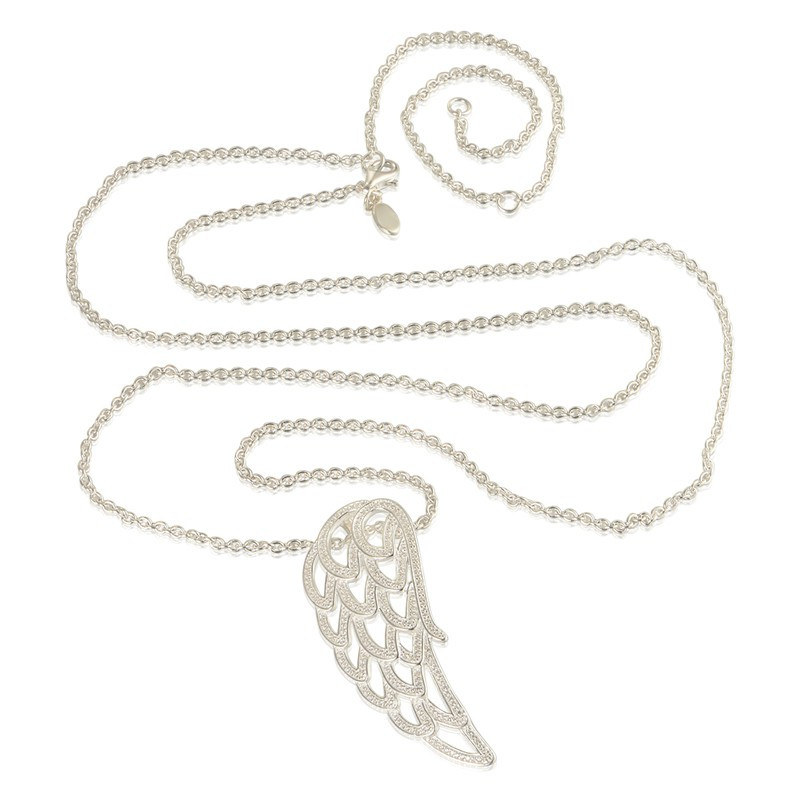 Fashion Romantic 925 Sterling Silver Necklace Angel Wing With Clear Cubic Zirconia Fit Charm Women Fine Jewelry Free Shipping<br><br>Aliexpress